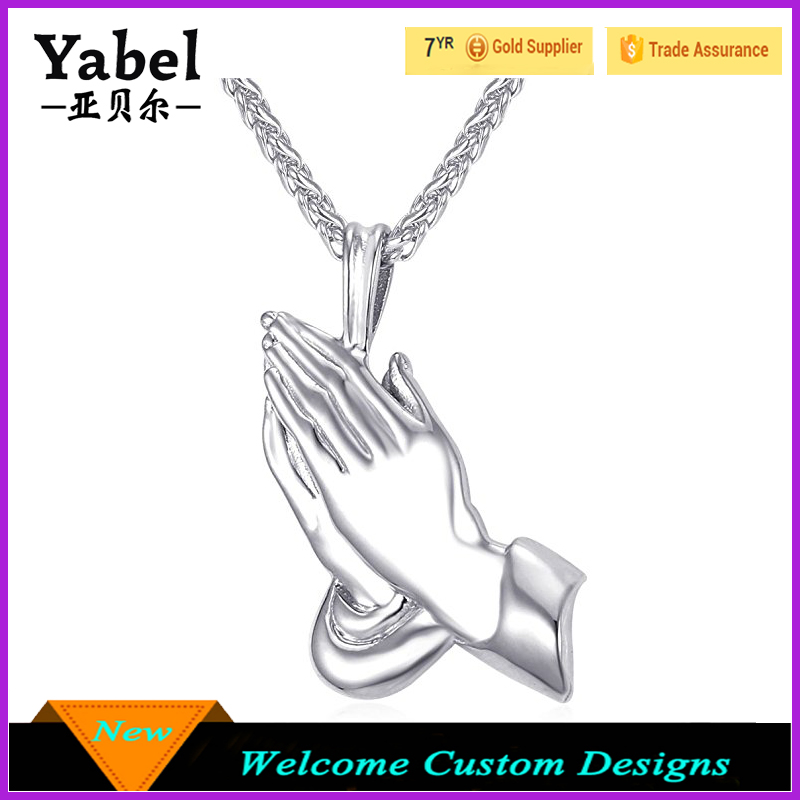 Praying Hands Pendant for Christian with Chain 22 Inch Stainless Steel/Black Gun/18K Gold Plated the Hands of an Apostle Necklac