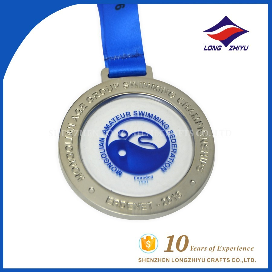 Gold plated custom hollow out sport swimming medal