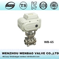 WB-65 Three Pieces motorised ball valve /CF8M Ball Valve threaded end automatic ball valve