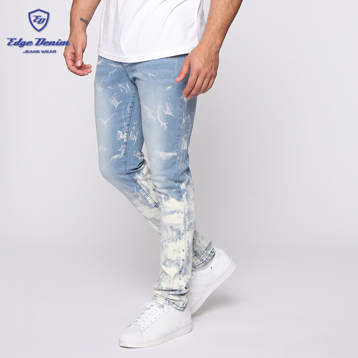 Hot sale new style bleach stone wash straight mid waist jeans for men