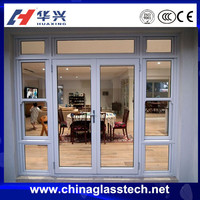 Heat insulation good sealing performance aluminum alloy frame single tempered glass exterior door with opening window
