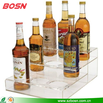 Retail store customized 3 tier acrylic display rack stand for wine bottle wholesale