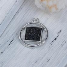 Zinc Based Alloy & Resin Charms Geometric Silver Tone Black Square Diy Jewelery Pendant Charms