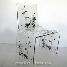 Transparent Crystal Stool with flower image