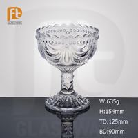 China Factory Elegant Long Stem Crtstal Wave Mouth Ice Cream /Dessert Glass Bowl with Embossed