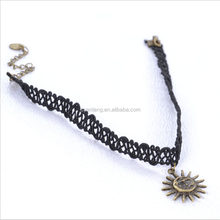 Hot selling sun smiling face pendants black lace choker necklace
