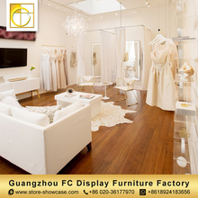 China manufacturer custom cheap price wedding dress retail garment shop interior design clothing acrylic display stand