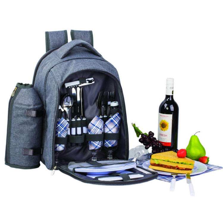 4 Person Picnic Bag with carrying handle/wine holder and backpack straps