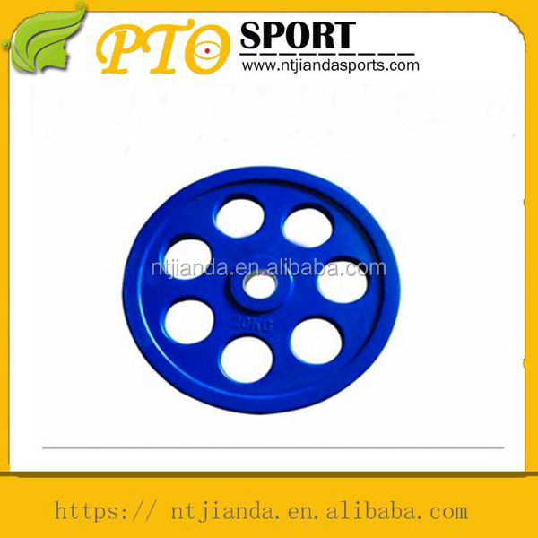 new fashioned colored rubber barbell plate with seven holes