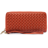 H129 cheap bulk gifts low price weave leather womens designer wallets