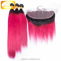 1b pink ombre color three bundles with a closure a lot Indian Hair Closure Cheap Human Hair Frontal Lace Closure With Bundles