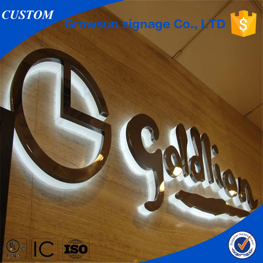 3D outdoor LOGO <strong>advertising</strong> back lit stainless steel LED letter signs for USA