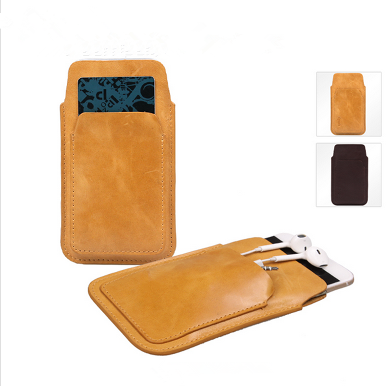 Beautiful genuine leather soft mobile phone pocket bag case