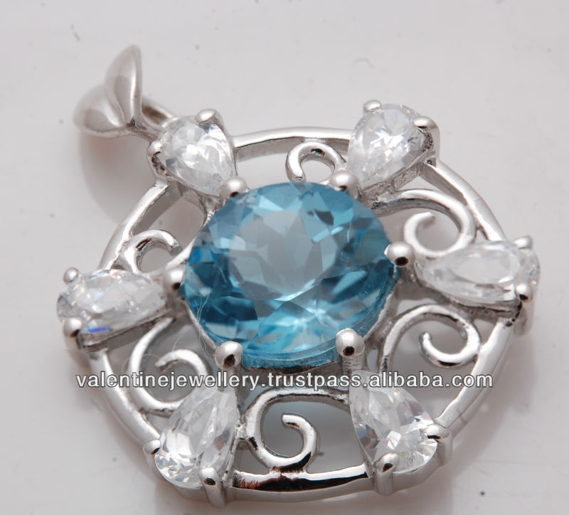 Good Luck Pendant in india, designer real stone silver pendant, round topaz and pear shaped CZ eternal pendant