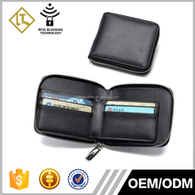 Mens Fashion Zipper Round Design Cheap Small Style Zipper Leather Wallet