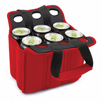 Red Six Pack Insulated Beverage Tote Neoprene Beer Cooler Bag Can Cooler Carrier with Handy Side Pocket