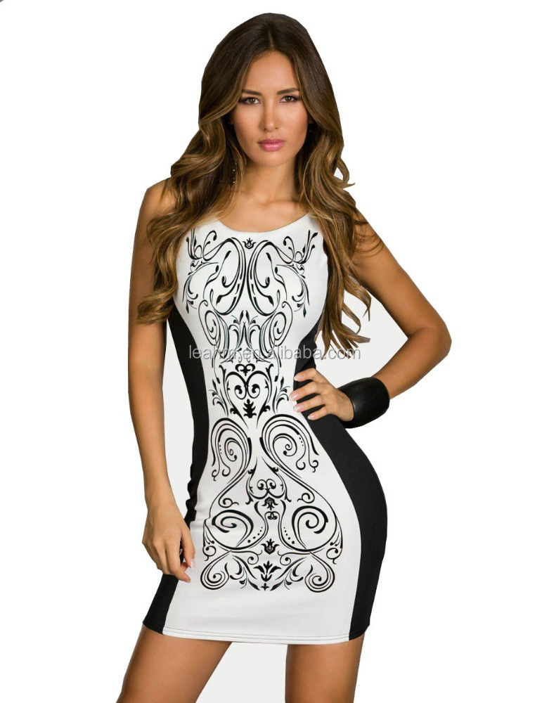 Fashion Women Retro Printed Black & White Patchwork Casual Bodycon Dress Sexy Summer Tank Club Dresses 2016