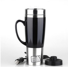 2018 Winter Car Heating Cup Auto 12V-24V 450ML Car Heating Cup Stainless Steel Liner Car Mug with ABS security shock base
