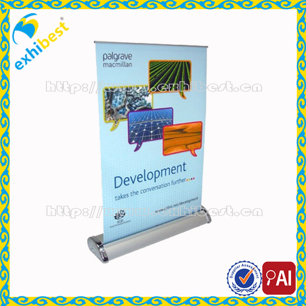 Mini small size retractable roll up banner for counter tabletop desktop