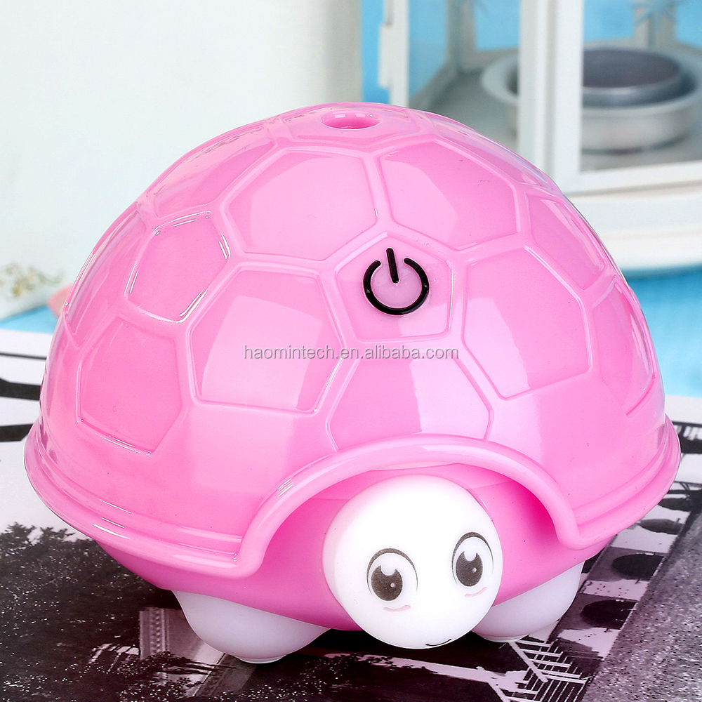2018 fashion portable pink turtle air humidifier with LED night light in home, office and everywhere for women and men.