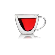 Heart Shaped Double Wall Clear Glass Tea Cup Lover Coffee Cup Mug Gift
