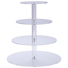 Customz 4-Tier Party Cupcake and Dessert Tower Clear Acrylic Cake Stand