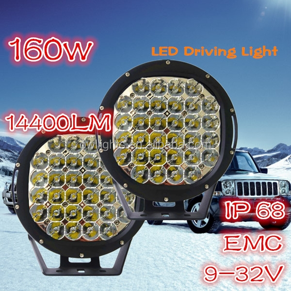 Super Bright 9inch 160W LED Driving Light Off Road LED Light Trailer, LED Light Bars Off Road