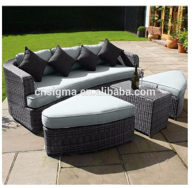 Most popular outdoor patio fiberglass wicker garden sofa set furniture