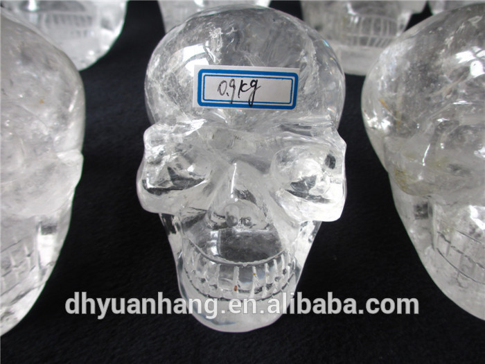 hot wholesale clear quartz rock crystal skulls,hand carved crystal skulls for crafts,1:1 handmade alien skull