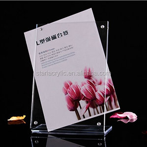 Clear Acrylic 8.5 X6 Inch(A5) Magnetic L Style Display Stand Label Card Sign Holder Ad Frame Business Card Display Holder