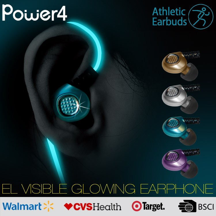 Noise Cancelling In -Ear EL Visible Glow Headphones Earphone Sport For Microphones With 3.5mm Connector