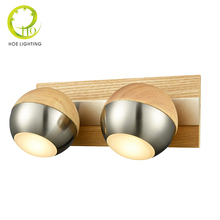 Niche Modern 2 Heads Wall Lamps For Home Lighting Wooden Absorb Dome Light