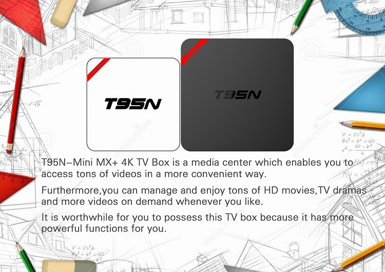 T95N MINI MX+ plastic housing google android 5.1 OS HDMI 2.0 output andriod tv box with 4K output