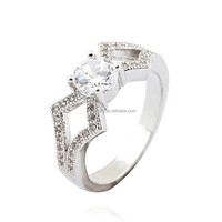 Hot Sale Rings!! JTS Classic White Zircon and 18K White Gold Plated Copper Ring for Wholesale R012