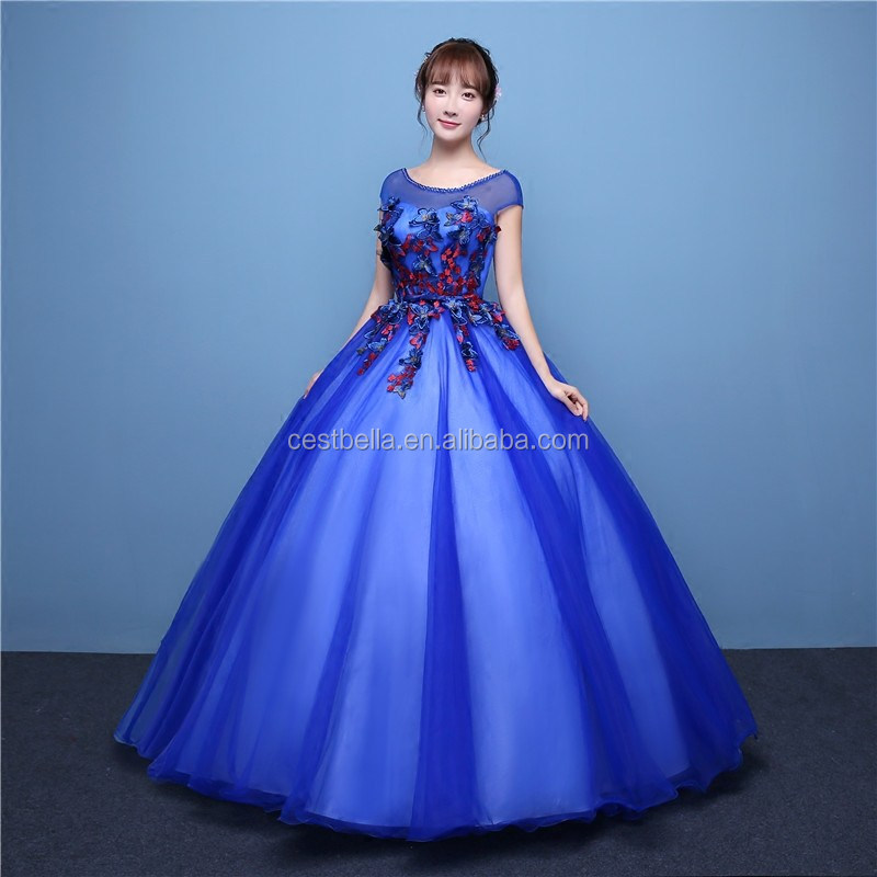 OEM Service Color customized ball gown organza wedding gown blue green evening gown