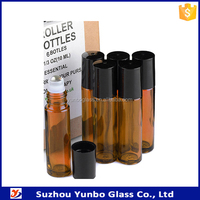 small decorative roll on glass bottles, 10ml stainless steel roller glass vial for cosmetics
