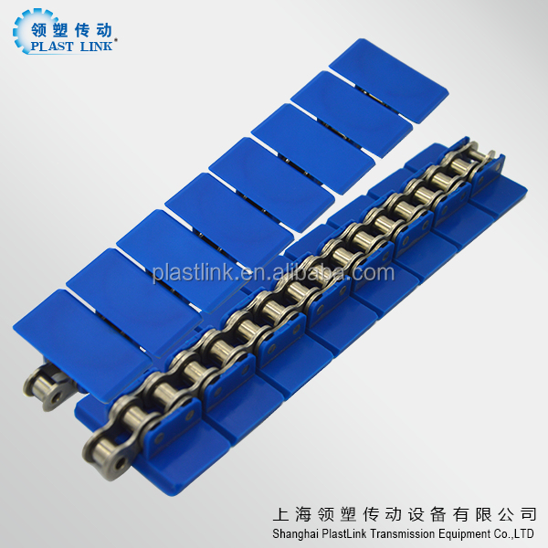 Fast speed straight running snap-on plastic chain for conveyor machine