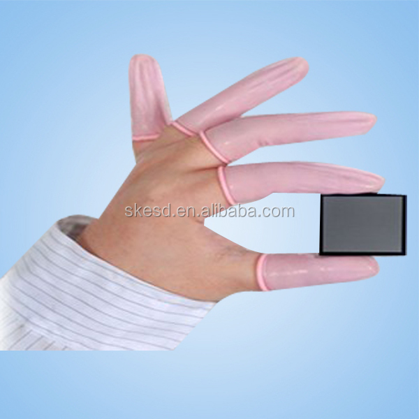anti static latex powder free pink/beige finger cot for cleanroom