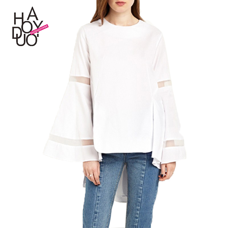 HAODUOYI Autumn Long Flare Sleeve Ruffles Stepped Hem Casual White Solid Color Sweet Mesh Patchwork Blouse For Wholesale
