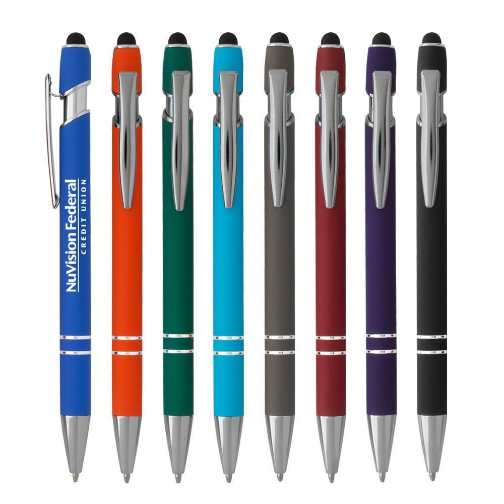 Cadeau promotionnel à double extrémité en métal clip en plastique caoutchoutée givrée baril chromé couvercle bouton de saut haut de gamme stylet stylo à bille - ANKUX Tech Co., Ltd