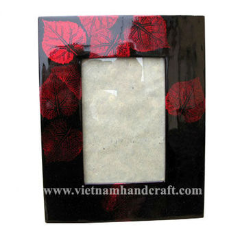 Eco-friendly handpainted vietnamese lacquered picture frame in black & with hand-painted red leaves
