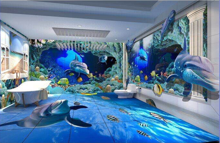 High quality 3d flooring 3d floor murals 60x60 view 3d for 3d mural art in india