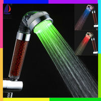 C-158-1LED hydro power temperature control mineral led light shower head reviews
