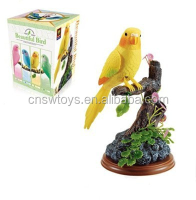 singing bird with stump 4 color BO sound control toy