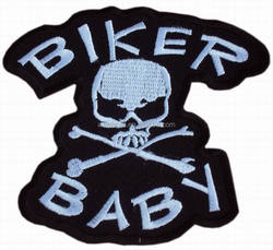 MOTORCYCLE CHOPPER SEW/IRON ON PATCH BIKER BABY SKULL & CROSSBONES