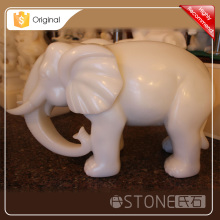 Top Quality Pure White Onyx Elephant Animal Carving Sculpture