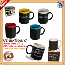 Chalkboard ceramic mug with Various of color rim and inside
