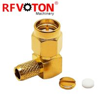 SMA male right angle elbow connector for RG142 cable
