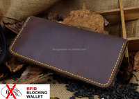 New design RFID blocking Wallet Genuine Crazy Horse mens leather Wallet