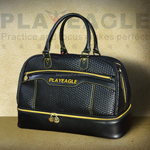 PlayEagle High Quality PU Leather Waterproof Golf Boston Bag with Separate Golf Shoes Bag Factory OEM Embroidery Logo